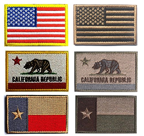 American US Tactical Patch, Antrix 6 Pack USA Flag Californi