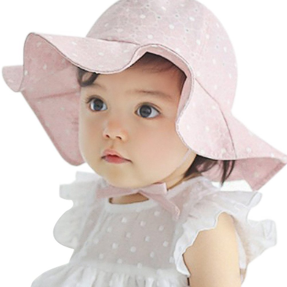 bjduck99 Cute Infant Toddler Baby Girls Wide Brim Outdoor Sun Protection Beach Hat Pink