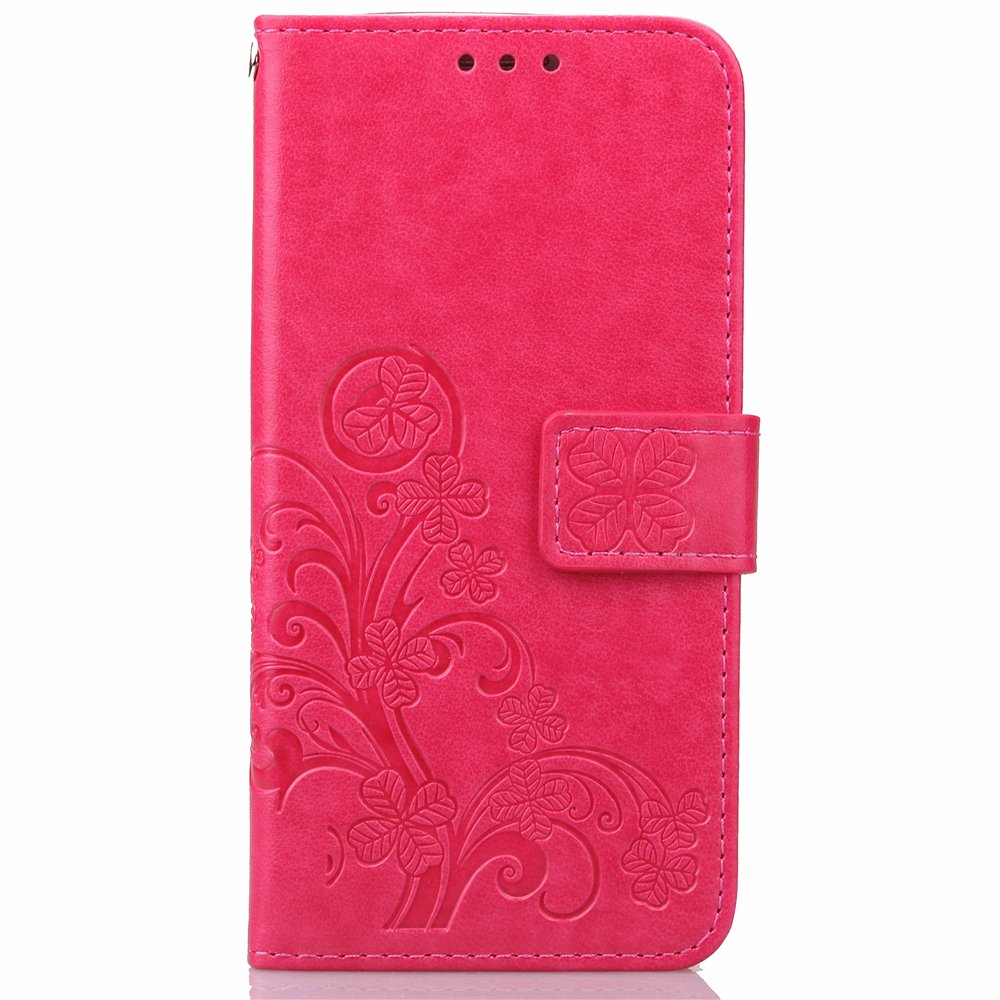 Cuitan Four Leaf Clover Pattern PU leather Flip Wallet Strap Case Cover for LG G4, Stand Function with Card Slots Magnetic Closure Book Style Cell Phone Shell Folio Protective Case Protection Sleeve & a Lanyard - Rose red