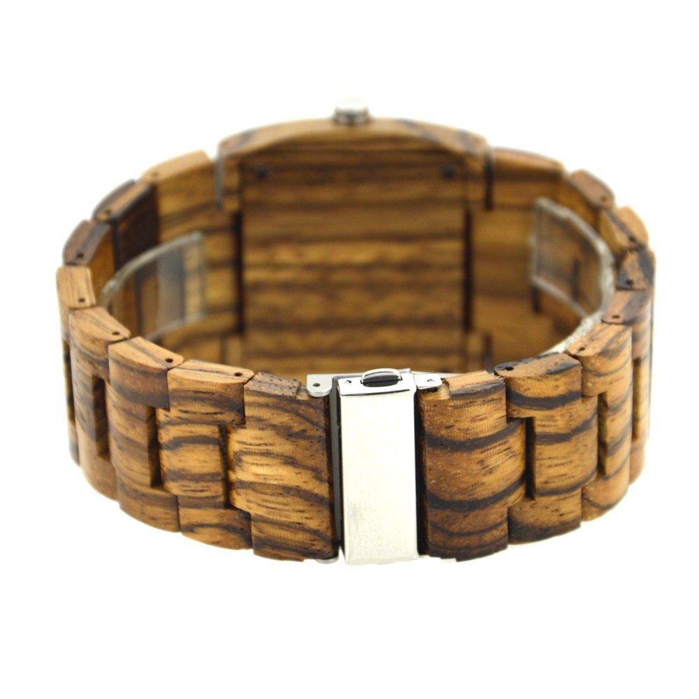 1ac9fe5e115d Reloj de los hombres de cuadrado de madera reloj doble movimiento Friendly  100% natural hecho a mano regalo zs-w021 C  Amazon.es  Relojes