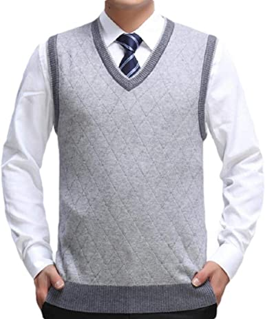 OTW Mens Loose Knitted Crewneck Plaid Print Thermal Pullover Sweaters