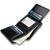 Men's Genuine Leather Wallet, High Quality Luxury Soft Smooth Genuine Leather Wallet Credit Card Slots with 9 Credit Cards Holder, 1 Clear ID Window, 6 Addition Slots