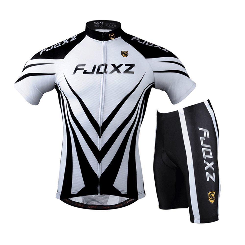 fjqxz Mens Cycling Jersey Bib Shorts with 3D Padded Set Outfit F011D Black