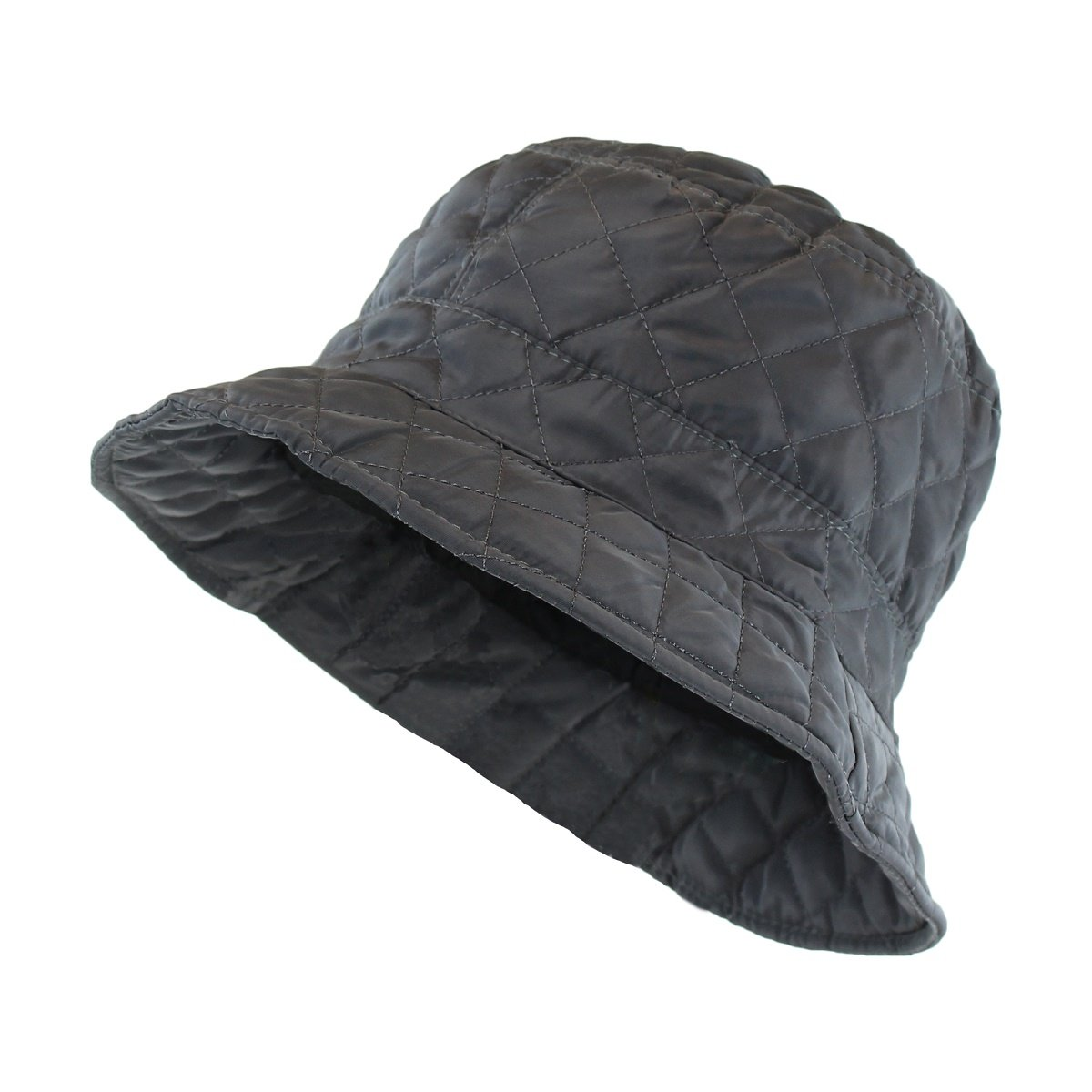 Gray Foldable Water Repellent Quilted Rain Hat w/ Drawstring, Bucket Cap