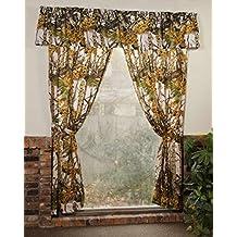 """The Woods"" Camo Curtain & Valance 5 Piece Drape Set White"