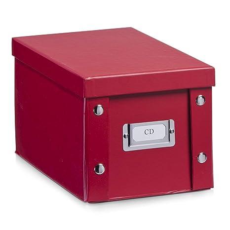 Zeller 17937 Caja de almacenaje de cartón Rojo (Rot) 16.5 x 28 x 15