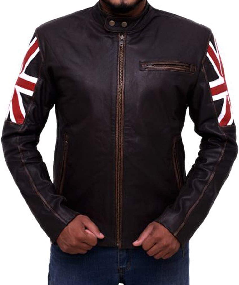Mens Vintage Distressed Brown UK Flag Cafe Racer Biker Jacket