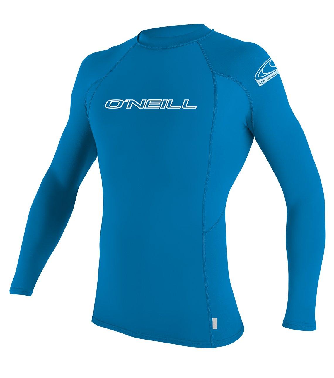 O'Neill Youth Basic Skins UPF 50+ Long Sleeve Rash Guard, Bright Blue, 12