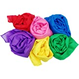 "Play Scarves + Storage Bag for Easy Clean Up : Perfect for Kids Pretend and Creative Play , Dress Up and Childhood Fun , 35"" Large Bundle of 6 Bright Colored Silks by Simply Sweet Fabric"