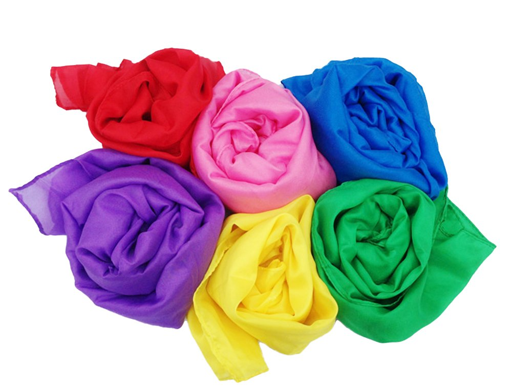 Simply Sweet Fabric Play Scarves + Storage Bag for Easy Clean Up : Perfect for Kids Pretend and Creative Play , Dress Up and Childhood Fun , 35'' Large Bundle of 6 Bright Colored Polyester Silks