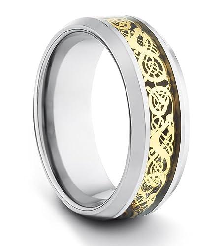 8 mm // carburo de tungsteno Hombre Mujer Unisex anillo de Bodas Anillo Pulido de