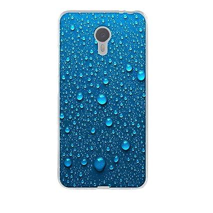 Meizu M3 Note funda, Fubaoda [Gotas de agua azul] Meizu M3 Note Carcasa Suave TPU protectora de Silicona de Gel Funda Tapa Case Cover para Meizu M3 ...