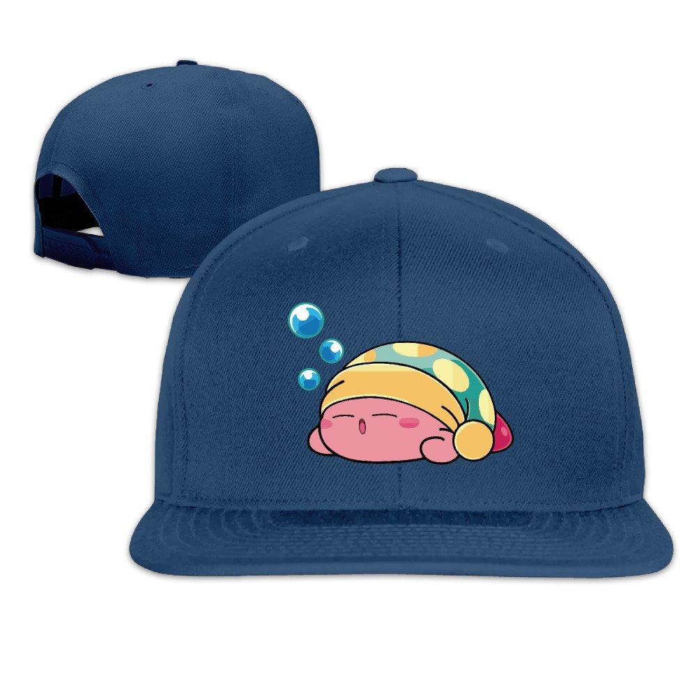 fe11c0e401f Amazon.com  Unisex Funny Cute Sleeping Kirby Snapback Fit Flat Peak Hat Cap  Navy  Clothing