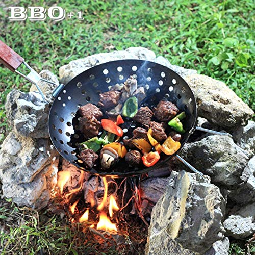 1 piece Non-Stick BBQ Grilling Skillet w/Folding Handle Round Pizza Grill Pan BBQ Veggies Seafood Barbecue Plates Picnic Diam 11''