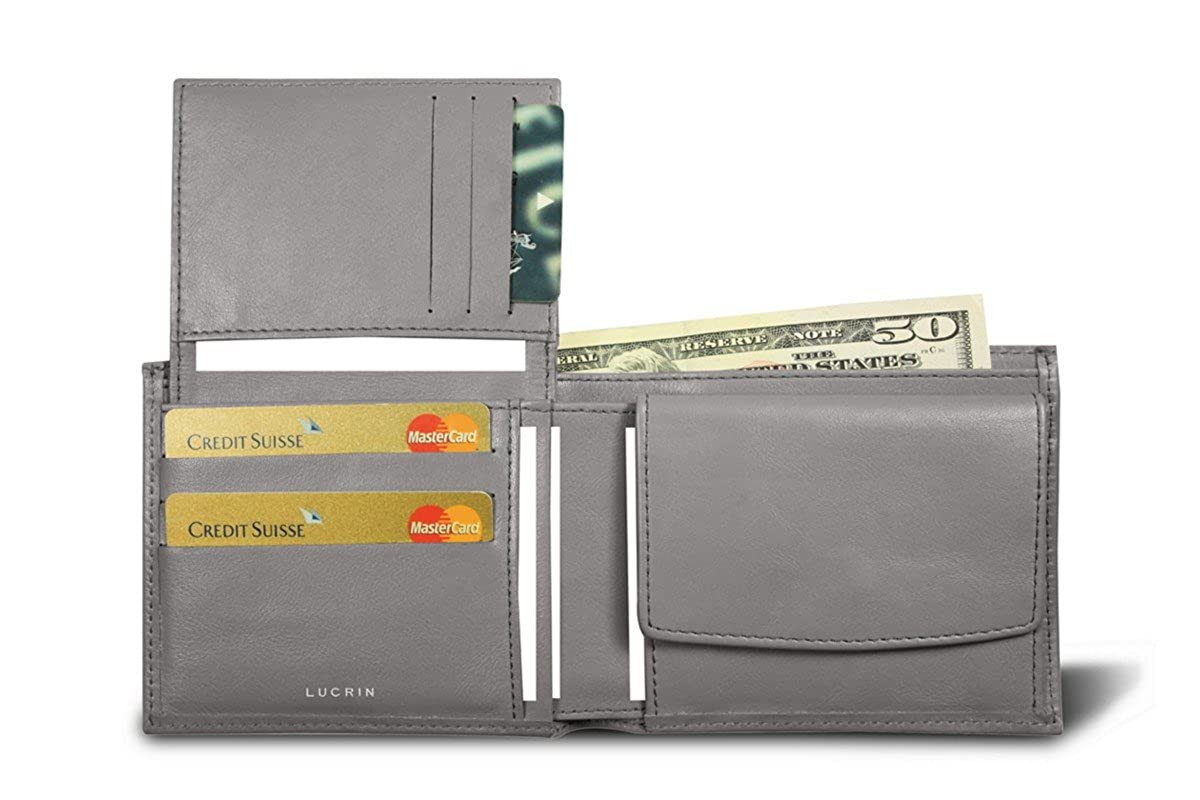 Dark grey Lucrin Smooth cow Wallet in 3 parts Leather