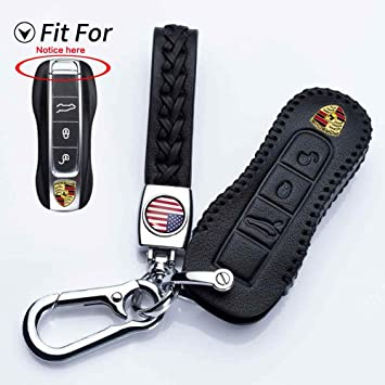 Car Key Case,Leather Flip Skin Remote Fob Cover Protect Key Chain Holder for Porsche Cayenne Panamera