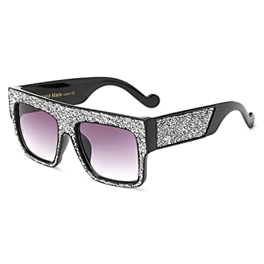MEIHAOWEI Square Lunettes de soleil Luxury Diamond Flat Lunettes de soleil Vintage Goggle Color 2 Fvkr4v