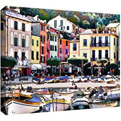 ArtWall Italy: Sunny Portofino Gallery Wrapped Canvas Artwork by Linda Parker, 36 by 24-Inch