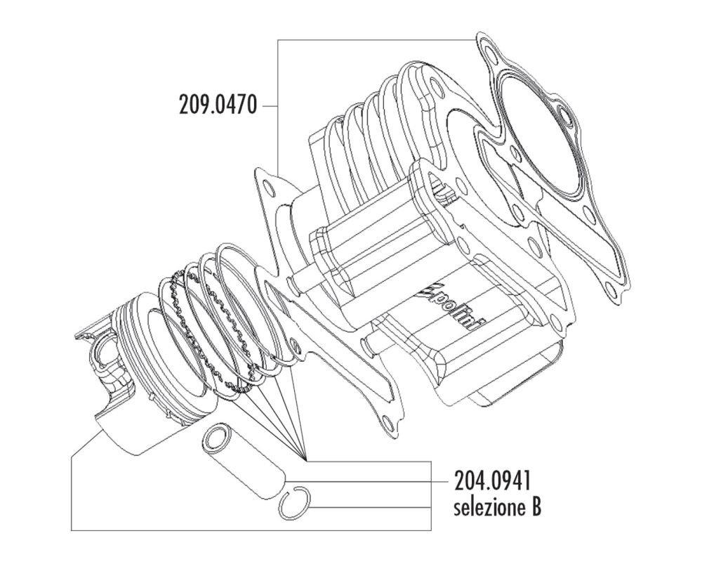 zylind erdichtung Satz POLINI 165 CCM 60 mm per LML 125, 150 4T (carburatore modello) 1504T (carburatore modello)