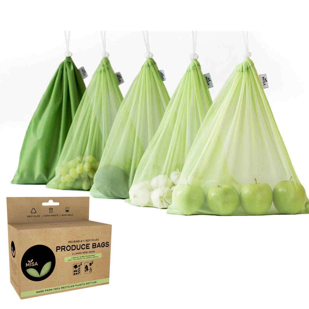 MISA Reusable mesh produce bags | Set of 4 + FREE GIFT Large RPET Bag 100% RECYCLED | Transparent, light-weight, strong, washable | Great for market, fruit, veggies, bulk bins, bread, laundry, storage