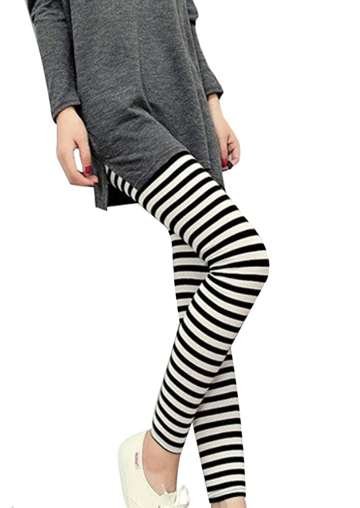 e3c5ec56354 Elastic waistband offers a comfortable adjustable fit. Classic black    white striped design in either horizontal or vertical. Ultra-skinny