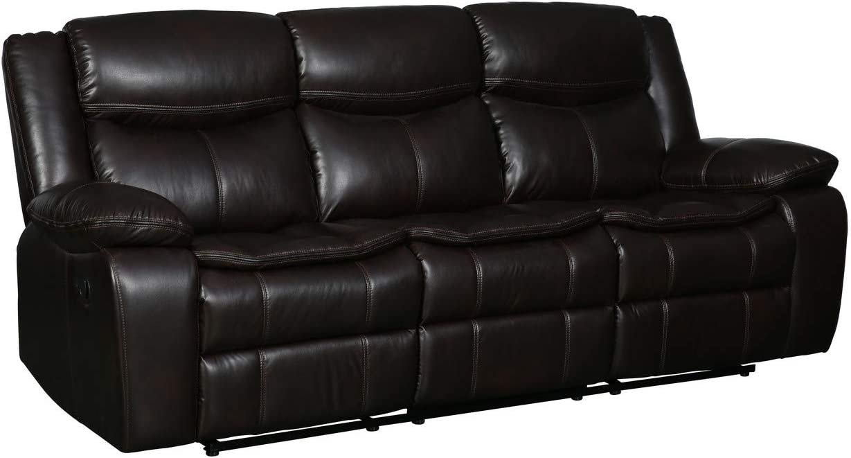 Blackjack Furniture Marsden Collection Modern Leather Air Living Room Reclining, Sofa, Chocolate