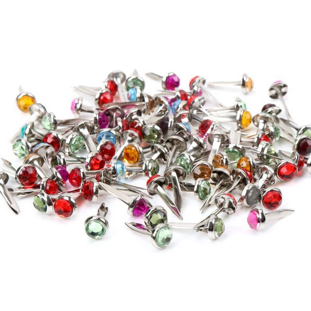#7 12.5mm 10pcs Pastel Brads Assorted Colored MixStuds Spikes for Clothes Round Square Brads Scrapbook Scrapbooking Embellishment Fastener Making and DIY Craft