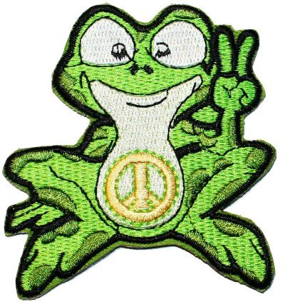 (Peace Finger Sign Frog Embroidered Iron On Hippie Patch)