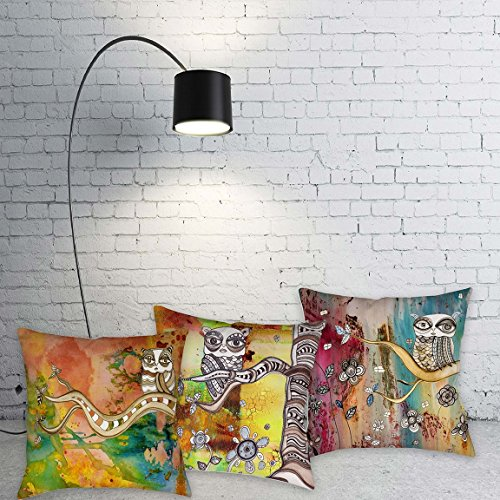 Set of 3 owl throw pillows. Colorful unique 'Surreal Owl Collection' floor pillows. Original mixed media art by C.Cambrea. Unique home decor accessories.