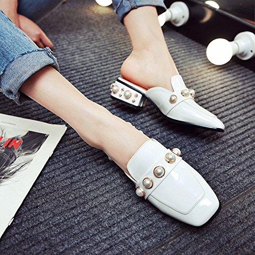 con Qingchunhuangtang white Baotou sandali scarpe pigro sandali Estate sandali spessi wYrSw