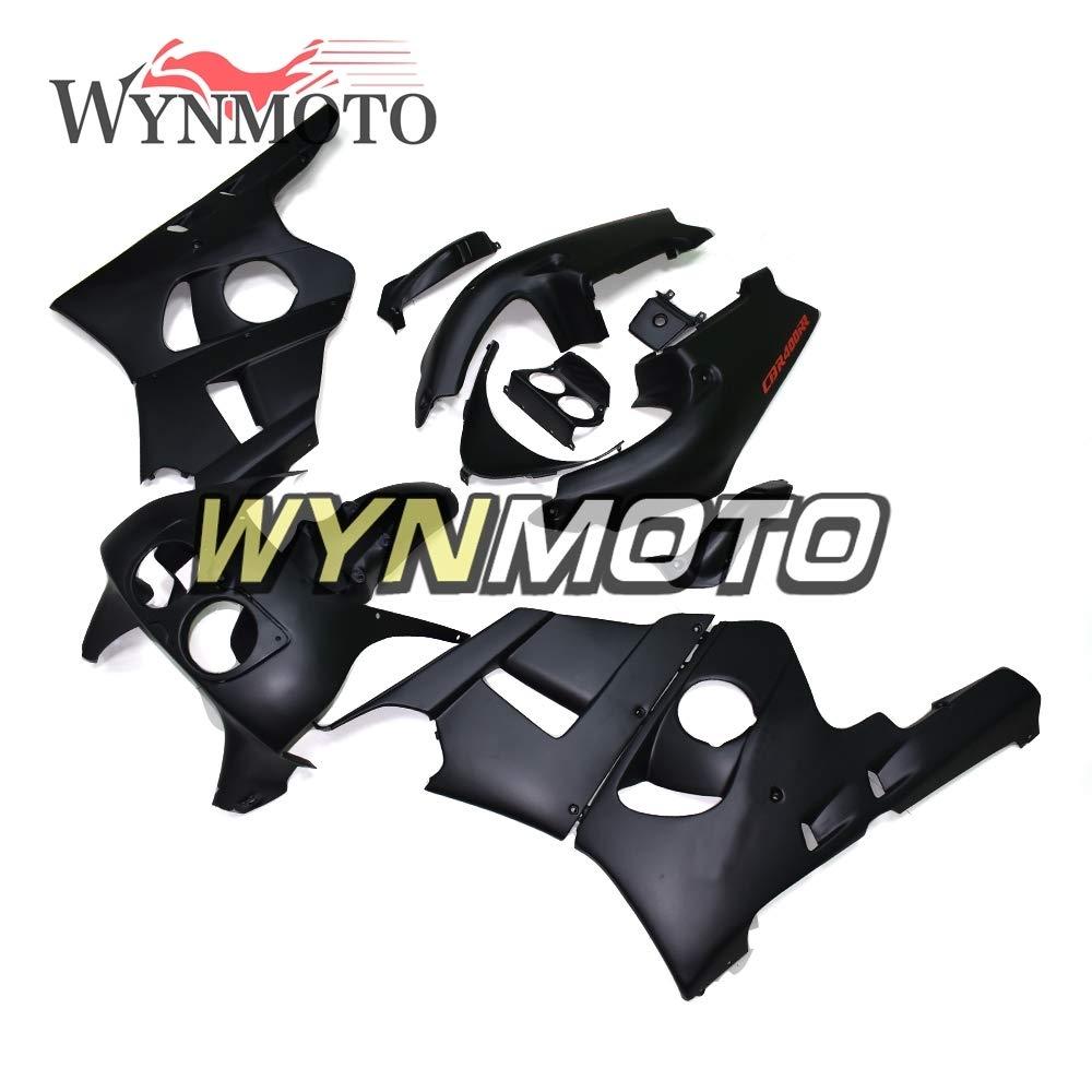 WYNMOTOのオートバイのABSプラスチック完全な外部の部品は適応のキットをホンダCBR400RR NC29のために合わせる1990年 - 1999年91 92 93 94 95 96 97 98ボディキット無光沢の純粋な黒のカウリング   B07MM928MW