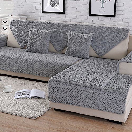 (HM&DX Plush Sofa slipcover,Thick Quilted Anti-Slip Stain Resistant Multi-Size Sofa Cover Protector for Pets Dog Sectional Couch Cover-Grey 110x240cm(43x94inch))