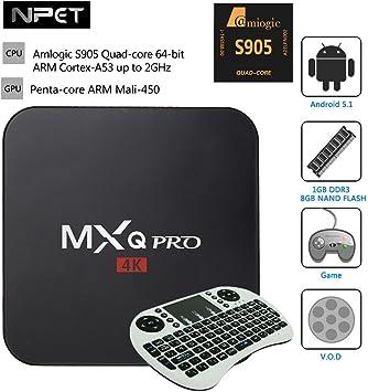 NPET MXQ Pro, Mini PC Smart Box TV Streaming Media Player Android 5,1 Amlogic S905 Quad-core, 64-bit, ARM Cortex-A53 de televisión para XBMC KODI con teclado inalámbrico Mini, color blanco: Amazon.es: Electrónica