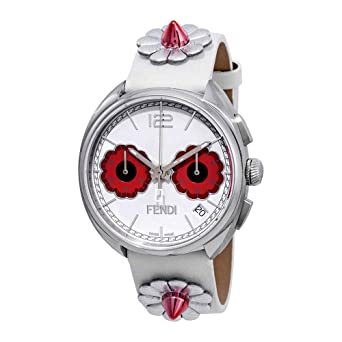 de6ecdd6a4aa Amazon.com  Fendi Momento Flowerland Chronograph White Dial Ladies ...