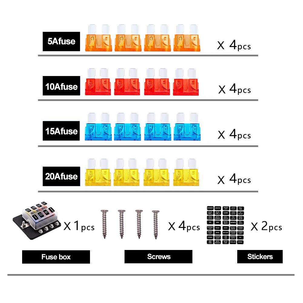 rv fuse box covers szmaitou 12 way fuse block blade fuse box holder screw with led  fuse block blade fuse box holder screw