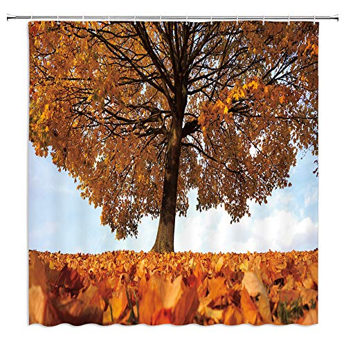 Natural Scenery Shower Curtain Harvest Season Sun Rays Sycamore Tree Fallen Leaves Calm Covered the Ground Fabric Polyester Waterproof Bathroom Decoe Set with Hooks,71x71 Inch,Orange Yellow ()