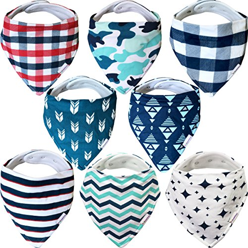 Baby Bandana Bibs For Boys – 8 Pack Baby Drool Bib Gift Set, Organic Cotton, 3 Snaps To Fit All Neck Sizes, Soft, Extra Absorbent, Easy To Clean, Perfect Baby (Baby Bib Fun Gift)