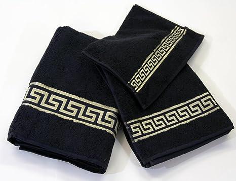 Medusa Handtuch 70x140 Baumwolle Duschtuch Mäander Schwarz Gold Kimono versac