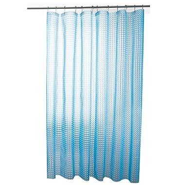 Lejian PEVA 6G Heavy Duty Waterproof Shower Curtains for Bathroom with 12 Rust Proof Grommets 72 X 72 Inch, Blue