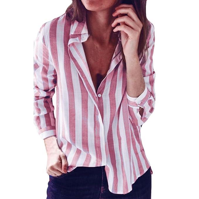 DAYLIN Blusa Mujer Moda Camiseta de Rayas Casual Suelto Manga Larga Tops: Amazon.es: Ropa y accesorios