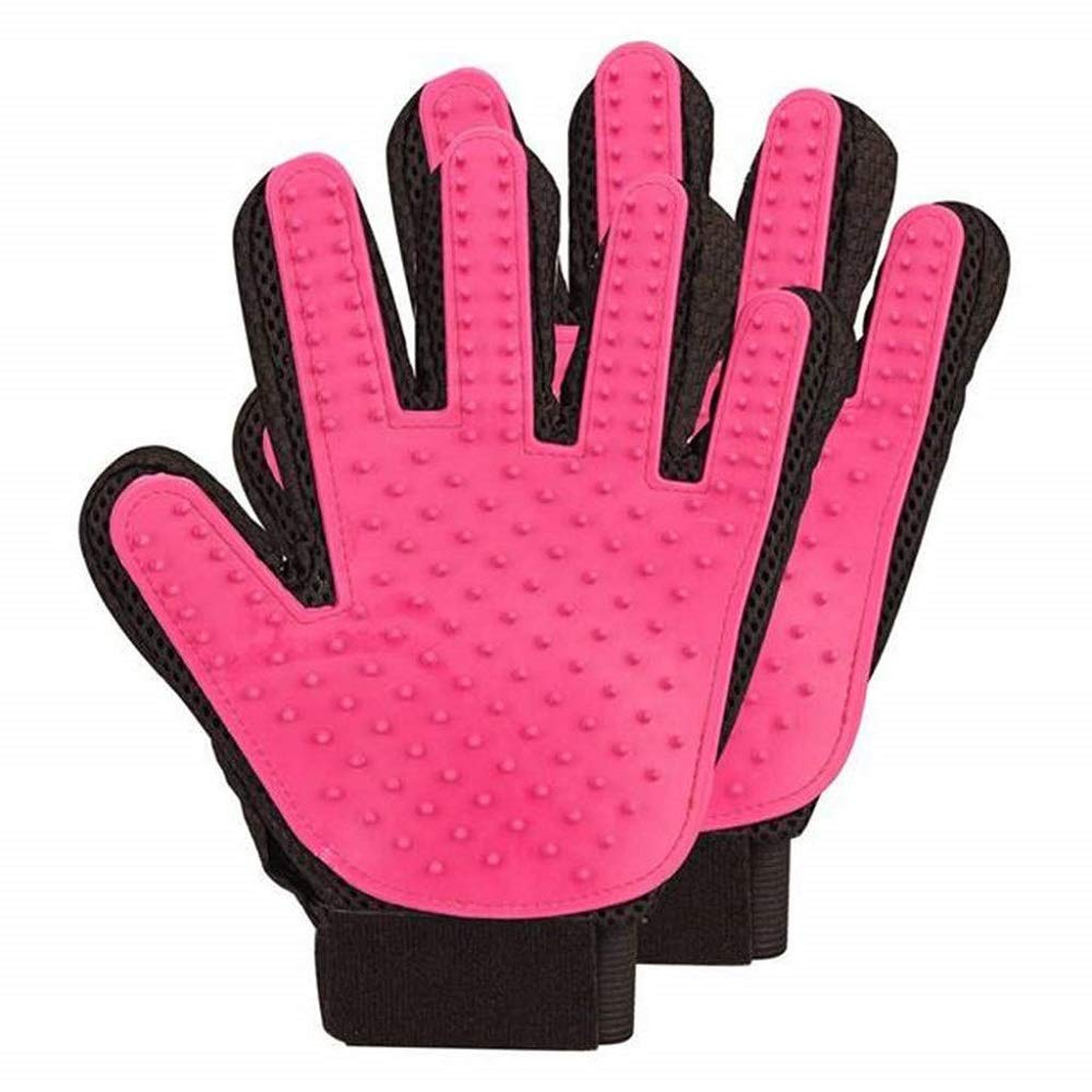 WRYCN Multifunctional Pet Glove Brush, Pet Grooming Brushgentle Deshedding Brush Bathing Massage Gloves -Five Finger Design 1 Pair