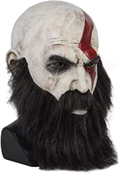 God of War Mask Kratos Horror Cosplay Latex Full Head Face Halloween Party Mask