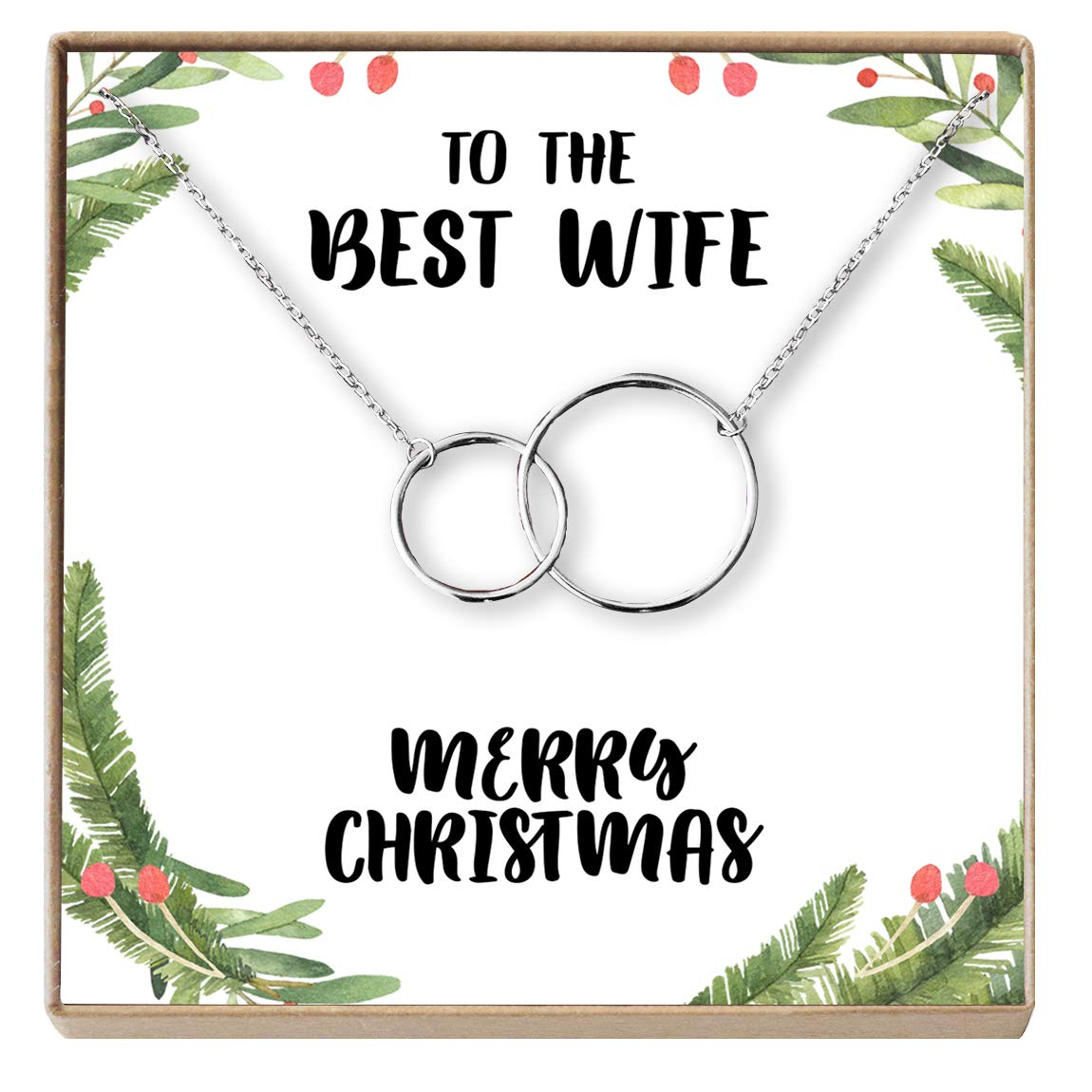 Necklace Dear Ava for Wife: Present Xmas for Wife 2 Interlocking Circles Jewelry