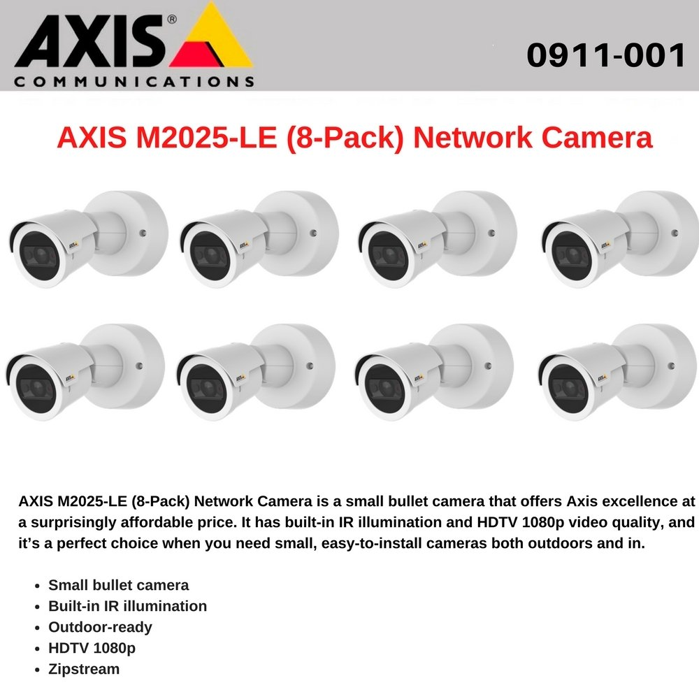 AXIS M2025-LE (8-Pack) Network Camera, Outdoor-Ready Camera with Built-in IR by Axis Communications