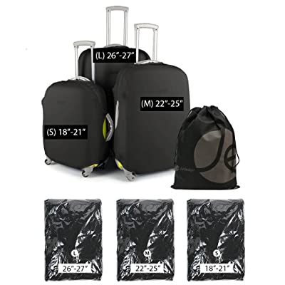 "3 Sizes Bundle Pack Stretch Fabric Luggage Cover - 3 Sizes: (SM) 18""-21"", (MED) 22""-25"", (LG) 26""-27"""