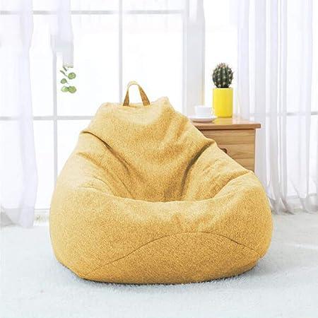 YQQ-Puff Bolsa De Frijoles Sillón Reclinable Bolsa De Frijol Gigante Relleno Asiento Beanbag De Juego Muebles De Jardín Interior/Exterior (Color : Yellow, Size : 80x90cm): Amazon.es: Hogar