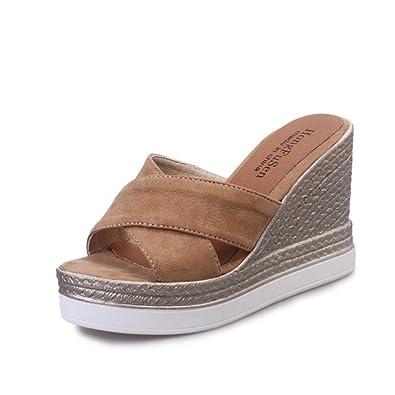 Frauen Faux Wildleder Espadrilles Sandale High Heel Slide Sandalen Keil Plateau Sommer Pantoffeln