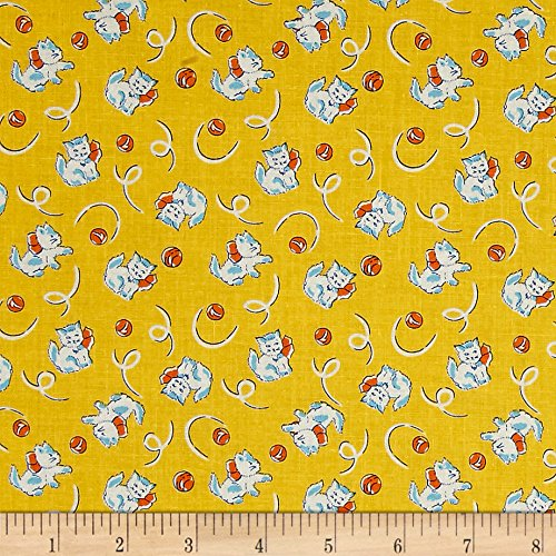 P & B Textiles Toy Box Miniatures Kitties Yellow Fabric By The Yard -  26748-4734-YEL1