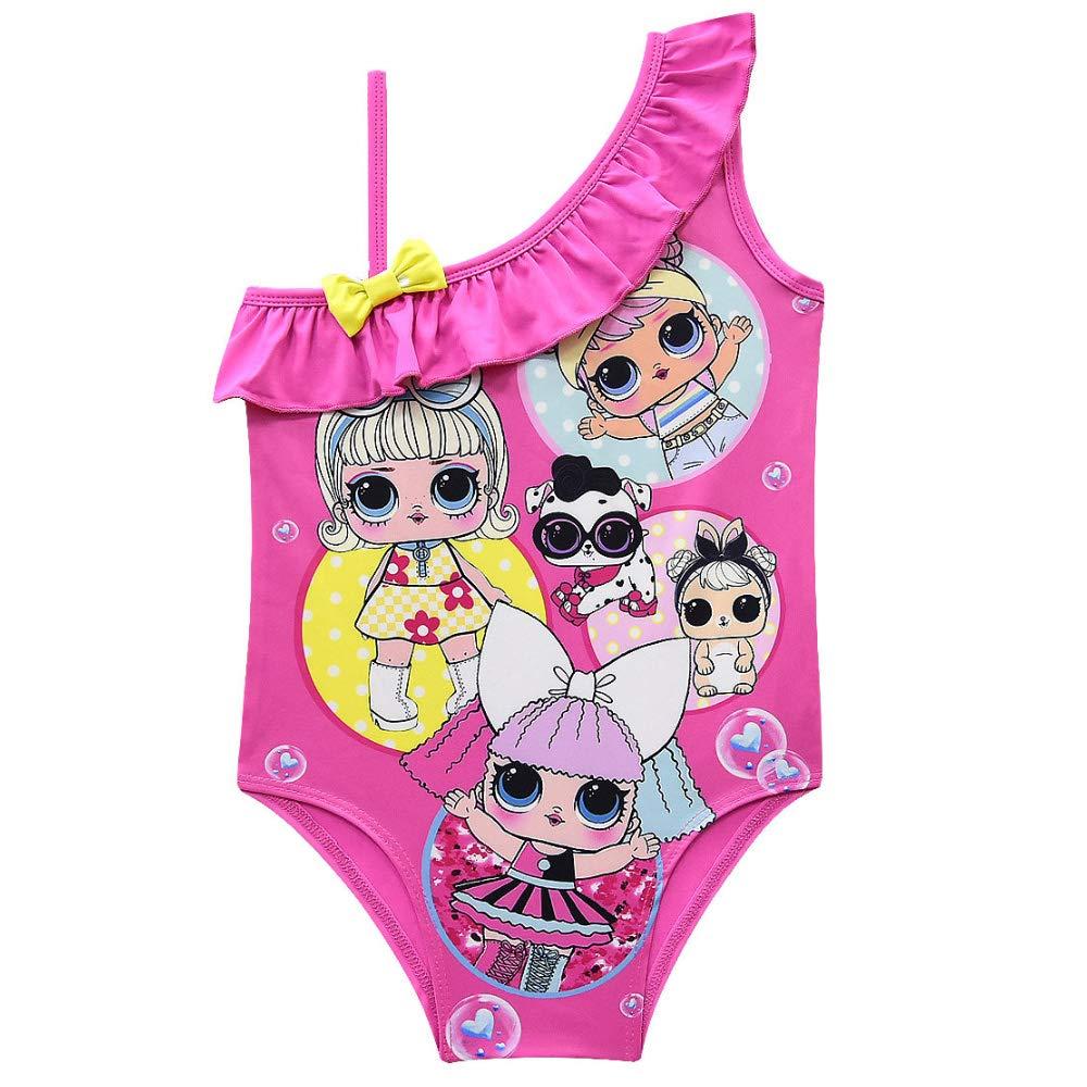 KINOMOTO Kids Girl Swimsuit Ruffle Swimwear Girls One Piece Straps Bathing Suit Cute