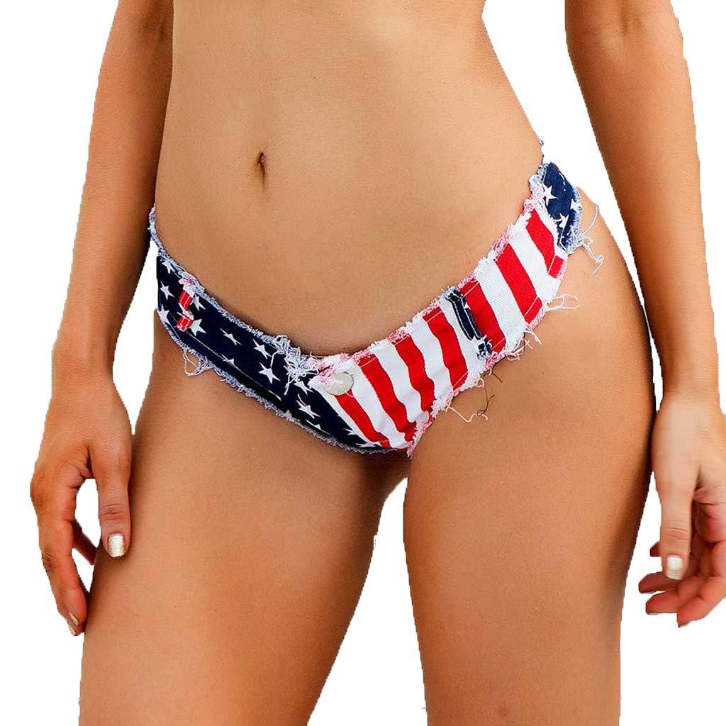 Women Flag Jeans Cheeky Denim Short Skinny Comfy Thong Summer Casual Shorts Hot Pants